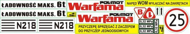 Naklejki Warfama N-218 N-228 Tandem 6t 4,5t N-227 N-226 rozrzutnik