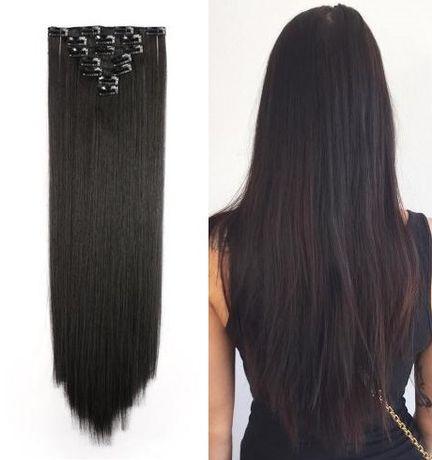 Włosy doczepiane ciemny brąz 8 tresek 60 cm