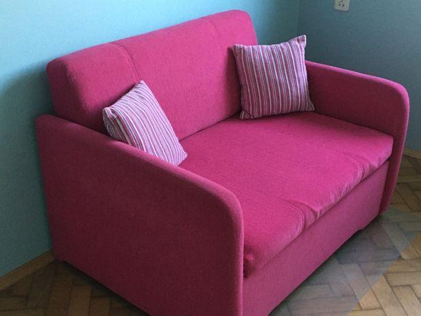 sofa rozkładana używana różowa