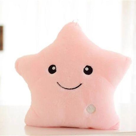 Подушка игрушка светящаяся. Цвет нежно розовый. Милая звёздочка!