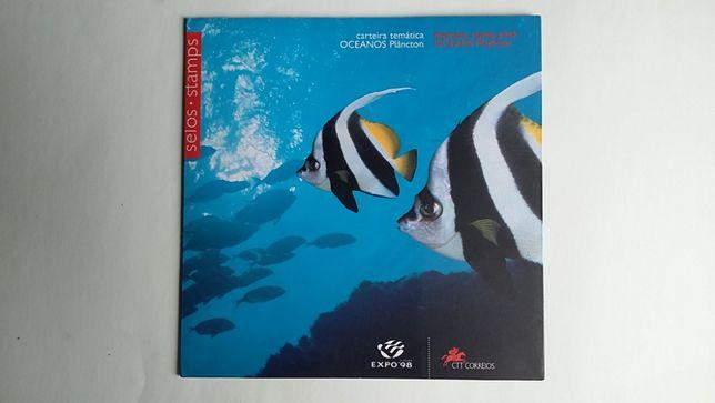 Carteira tematica Oceanos Plâncton Expo 98 Selos