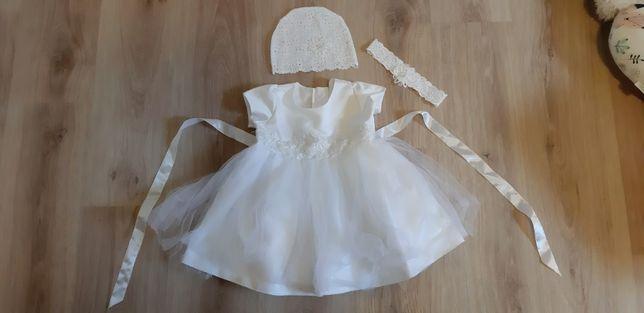 Sukienka,czapeczka i opaska do chrztu roz.80+buciki