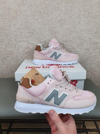 ХИТ New Balance 574 розовые замшевые кроссовки женские Нью Беленс 574