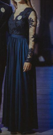Długa granatowa sukienka wieczorowa