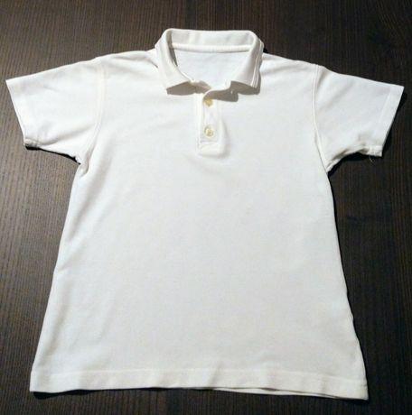 Koszulka polo biały t-shirt dla chłopca podkoszulek na WF r. 128/134