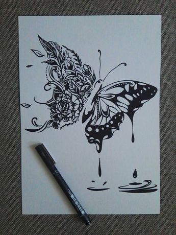 Rysunki: motyl, pszczoła, sowa - cienkopis, A4, 200g/m2