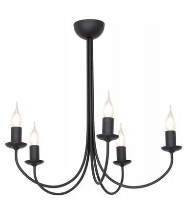 Żyrandol świecznik czarny wiszący retro vintage lampa 5 żarówek