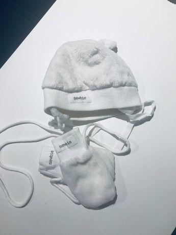Komplet newbie ,czapka i rękawiczki ,rozm 0-3