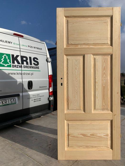 Drzwi drewniane ryflowane , postarzane, szczotkowane PROSTE BEZSĘCZNE Grzybno - image 1