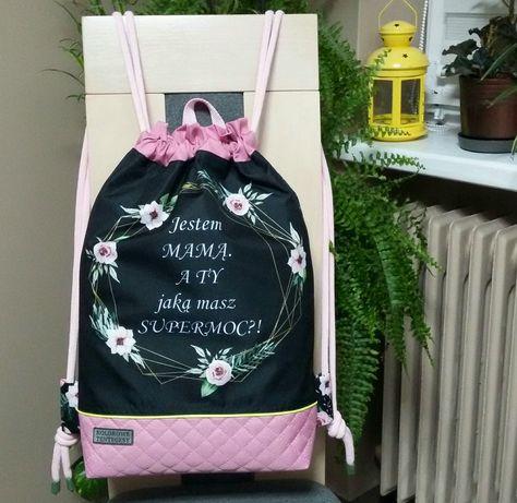 "Worko-plecak dwustronny ""Supermoc Mamy ""wodoodporny handmade"