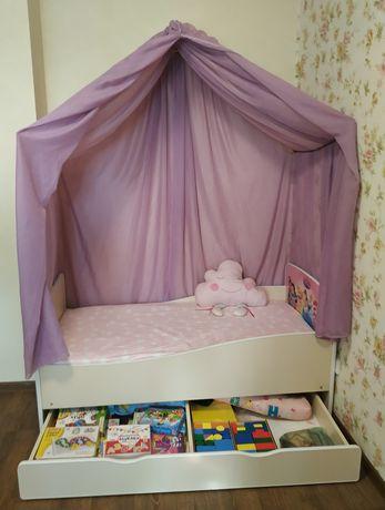 Кровать для девочки 70*140 с принцессами Дисней, матрас, простынь