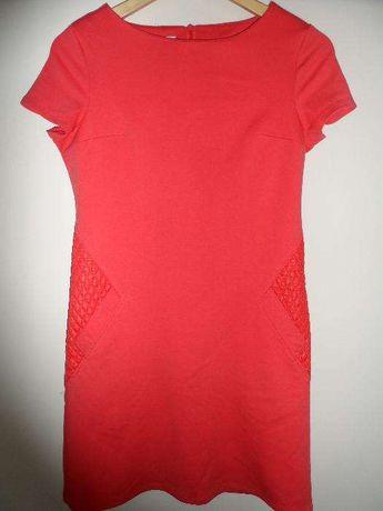 Sukienka ołówkowa, malinowa, na wesele, poprawiny, rozmiar 38