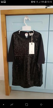 Czarna sukieneczka z cekinami 98/104