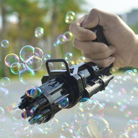 Электрический игрушечный пулемет для создания мыльных пузырей Gatling