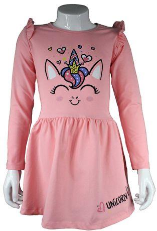 Sukienka różowa elastyczna nadruk dziecko r. 92 - 116