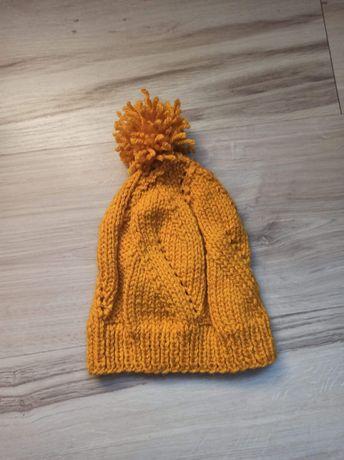Musztardowa / żółta czapka dziecięca ręcznie robiona na drutach+kw