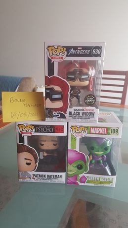 Funko Pop (Black Widow / Green Goblin / Patrick Bateman)