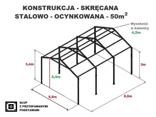 Wiata Garaż 5,5x9,5 Hala Magazyn Konstrukcja OCYNKOWANA Kombajn Bizon