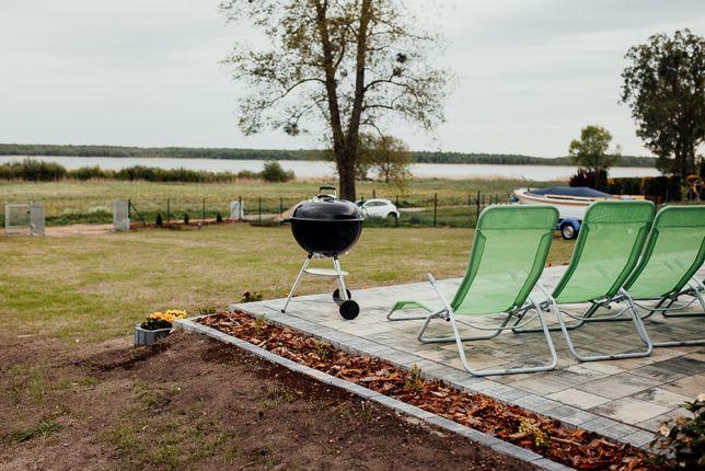 domek nad jeziorem, Mazury, internet, łódź