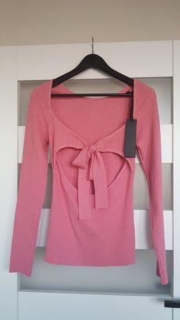 PINKO różowy sweterek z wiązaniem na plecach L