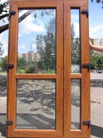 WZMOCNIONE Drzwi zewnętrzne wejściowe PCV kolor złoty dąb