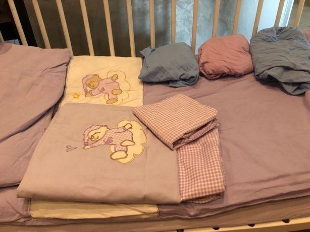 Materac do łóżeczka+wkład do pościeli+komplet pościel z ochran