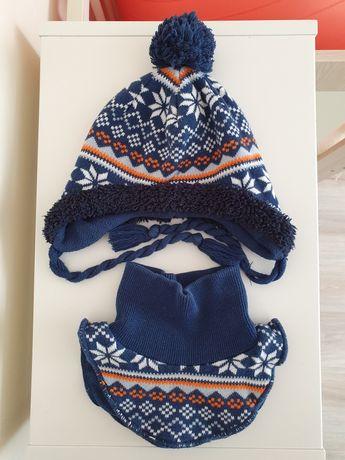 Komolet: czapka i komin, zimowe, rozm.56 /68 /74