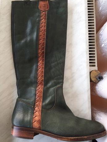 Чоботи демісезон чобітки шкіряні зелені