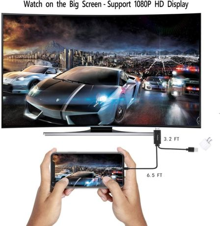 Cabo HDMI - ligação direta smartphone iPhone/Android para TV (Novo)