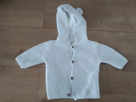 68. Next 68 sweter sweterek z dzianiny biały miś z kapturem SUPER!