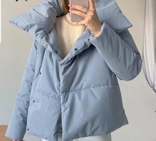 Куртка анорак пуховик деми голубая в стиле zara