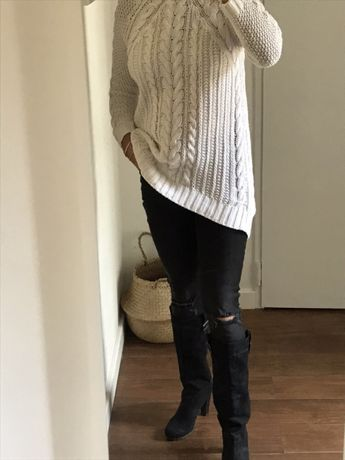 Sweter ZARA knit zima modny długi kardigan rozm M