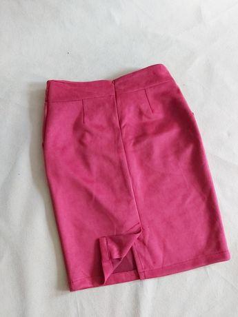 Nowa welurowa spódnica wysoki stan bordo M