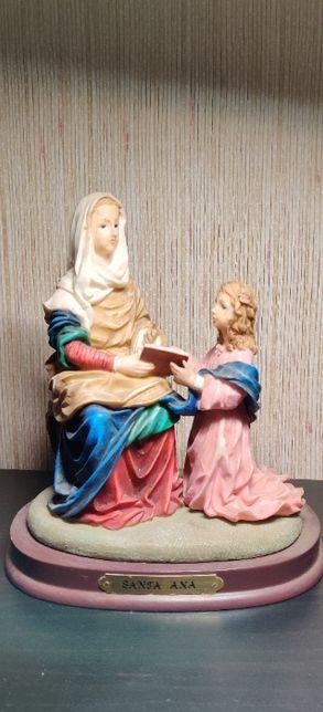 Estatueta S Ana em marfinite-Louças Falcão;Bom estado;22 cm