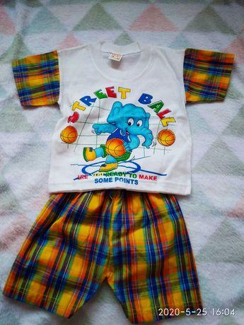 Komplet na lato chłopczyk koszulka spodenki r. 74
