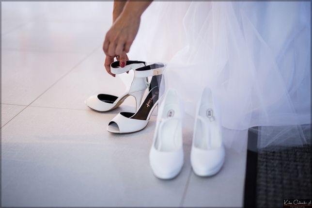 Buty ślubne, białe sandałki, ślub wesele zapinane r.37