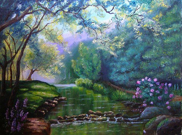 Картина Пруд в лесу