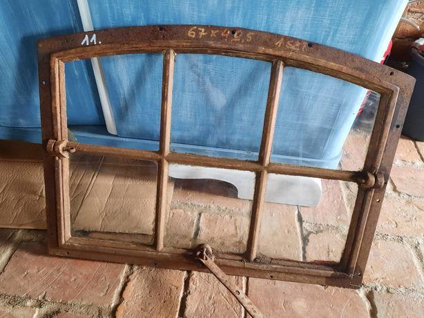 Okno żeliwne, stare okna żeliwne 67x 49,5 cm