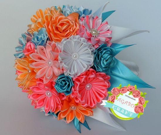 Bukiet trwały ze wstążek kwiaty kanzashi ślub sesja