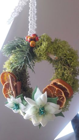 Wianek świąteczny recznie robiony handmade Boże Narodzenie.