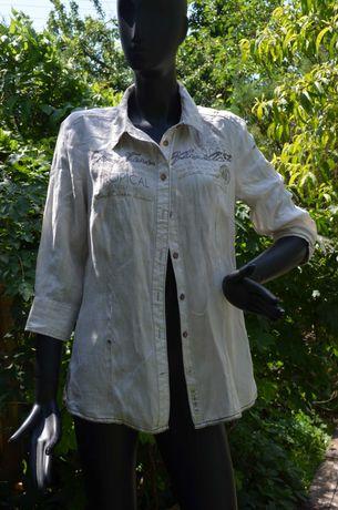 Шикарная женская льняная рубашка натурального цвета