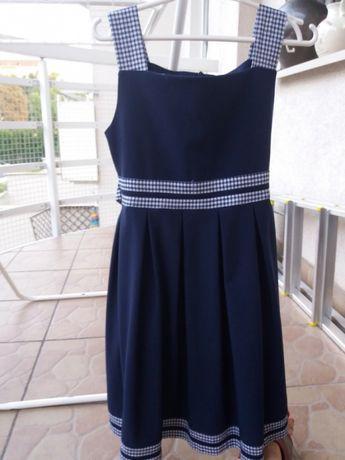Sukienka dziewczeca 134 cm biało-granatowa