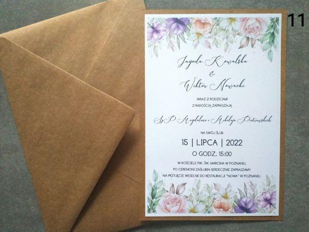 Zaproszenia slubne liscie fioletowe kwiaty jedna karta