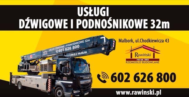 Usługi Podnośnik i dźwig 20,22,28,32 m Malbork Tczew Elbląg Nowy Dwór