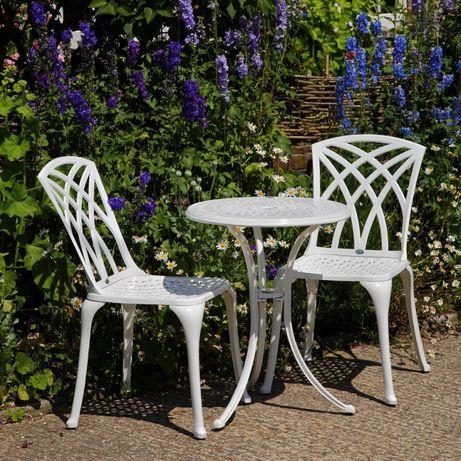 Białe Meble ogrodowe do altany tarasowe żeliwny STÓŁ + 2 KRZESŁA