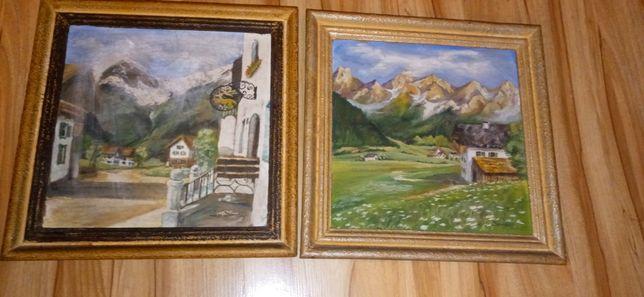 Stare obrazy malowane na desce- Pejzaż ,Alpy, Tyrol