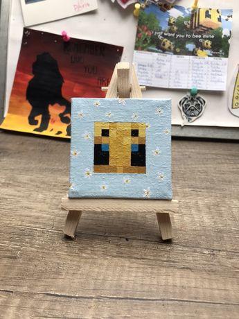 Obraz na płótnie minecraft pszczoła handmade rękodzieło