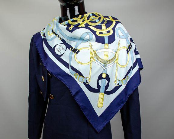 Фирменный шелковый платок Hermes Eperon D'or.Большой яркий платок
