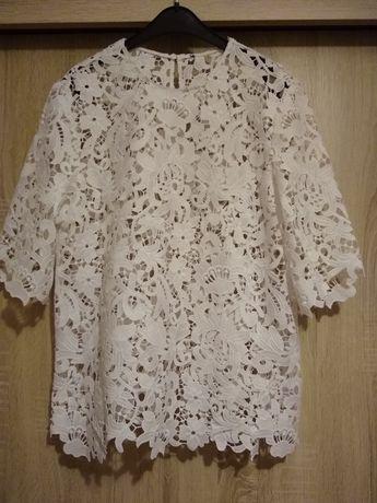 Zara biała bluzka oryginalna gipiura M 38