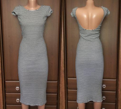 Платье миди в полоску в рубчик С М
